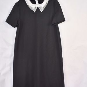 Zara TRF Black Dress white collar S (F77)